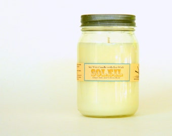 Ginger Lime / SOLEIL Hand Poured Soy Candle / Mason Jar Candles