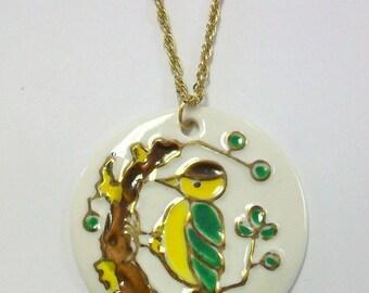 Vintage Porcelain Bird Necklace DEADSTOCK