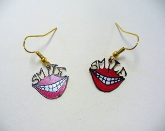 Vintage 70s Novelty Smile Earrings DEADSTOCK