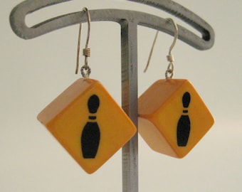 SALE Handmade Vintage Bakelite Bowling Pin Dice Earrings 5/8 inch Diagonal