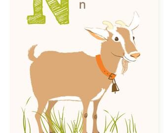 ABC card, N is for Nanny Goat, ABC wall art, alphabet flash cards, nursery wall decor for kids