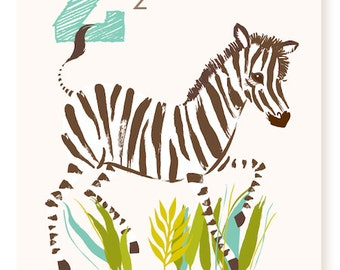 Z is for Zebra - 5x7 - nursery art for children