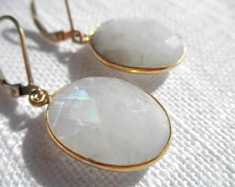 Large Moonstone earrings - white earrings - rainbow earrings - gold earrings - E A R R I N G S 109