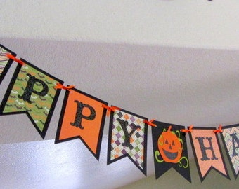 Halloween Banner - Colorful, Sparkly HAPPY HALLOWEEN Pennant Paper Garland, decoration, party, glitter bunting swag decor orange black