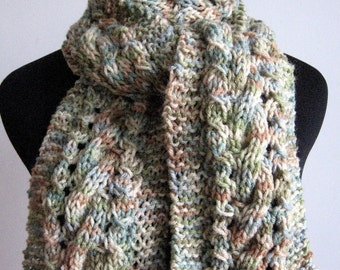 Multicoloured Green/Beige Cable and Lace Scarf, The Stef Scarf, Vegan Knits, Fall Accessories, Knitted Scarf, Winter Scarf
