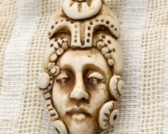 Artisan Face Pendant-- Faux Ivory Goddess with Ornate Crown