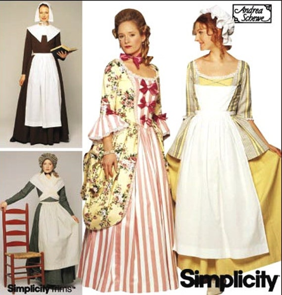 Thanksgiving Pilgrim & Colonial Costume Dress, Apron, Scarf and Bonnet Sewing Pattern Simplicity 9746 (14-20)