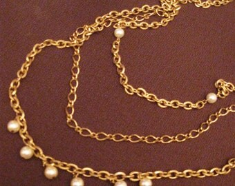Vintage Pearl and Chain Necklace Triple Chain Gold Tone Chain 1960s