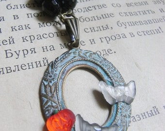Halloween jewelry, Vintage Pumpkin, Bat glass, Asymetric butterfly necklace, Free Shipping