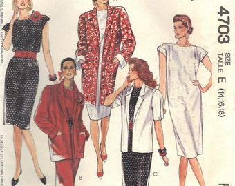 Vintage Easy McCalls 4703 Unlined Jacket and Dress Sewing Pattern Misses Size 14 16 18 Petitable Uncut