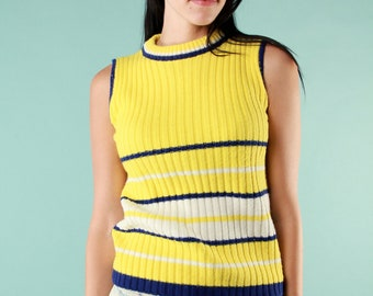 Vintage Sleeveless Sweater V Neck 60s Knit Tank Top - Small Striped Yellow Blue White