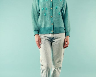 Vintage Cardigan Robins Egg Blue - Medium Gold Enamel Buttons Pockets Fuzzy Sweater