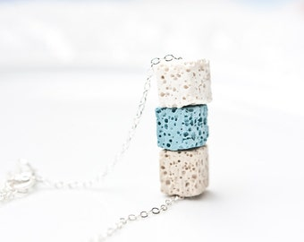 Necklace Lava Stone Cube Silver White Baby Blue Beige Modern Geometric Jewelry urban minimal chic