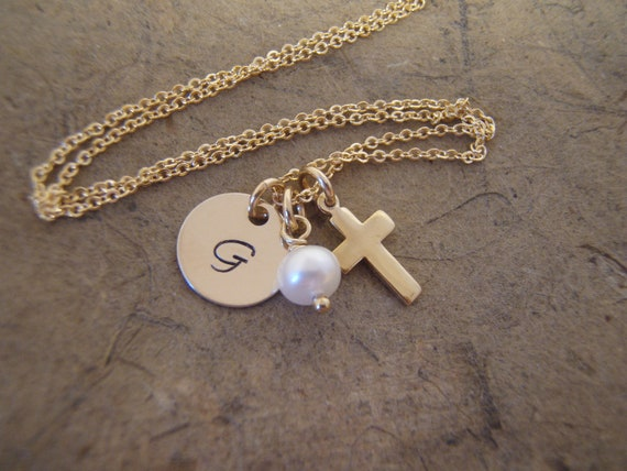 Gold Cross and initial necklace - Dainty gold cross and pearl necklace - Genuine Birthstone dangle of your choice - Photo NOT actual size