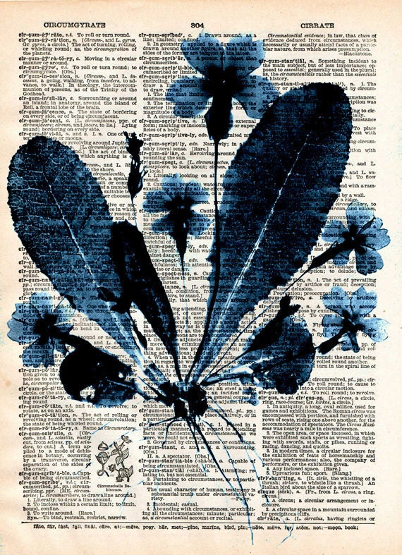 Vintage Book Dictionary Print - Vintage Floral Print - Upcycled Antique Book Print - Natural History Flower Botanical Print - Blue and Whit