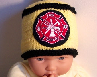 Custom handmade knit Fireman, firefighter, fire rescue, baby hat cap beanie,Yellow, badge of courage appliqued shield