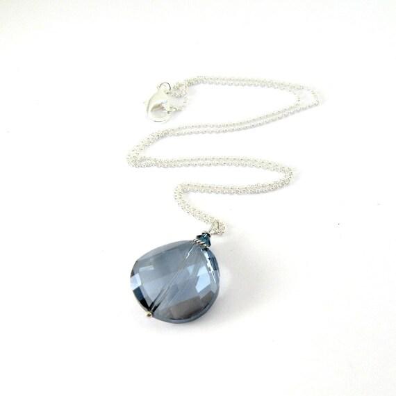 Montana Blue Necklace Czech Glass Swarovski Sterling Silver Beaded