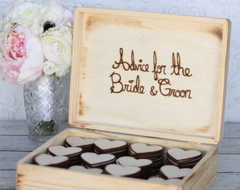 Personalized Wood Rustic Wedding Guest Book Box Large