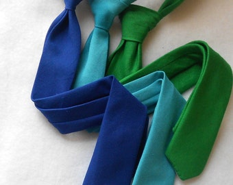 Royal Blue, Teal, or Green Skinny Tie or Standard Width - Infant, Toddler, Boys      2 weeks before shipping