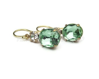 Estate Style Peridot & Crystal Swarovski Rhinestone Earrings