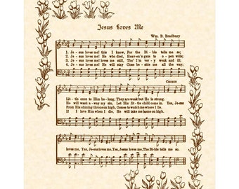 JESUS LOVES ME --- 8 x 10 Antique Hymn Art Print on Natural Parchment in Sepia Brown Ink