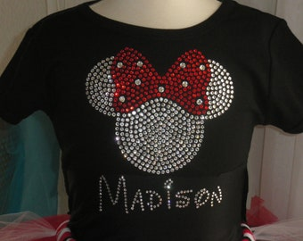Girls 8,10,12 PERSONALIZED big RED Minnie Mouse Disney rhinestone short OR long sleeve t-shirt for costume