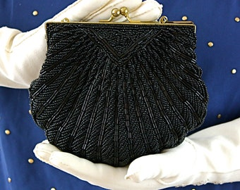Vintage 60s Bead Formal Handbag Scallop Black Glass Bead Evening Formal Purse