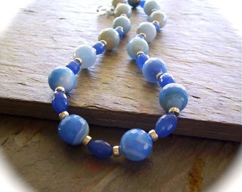 Sky Blue Faceted Agate Necklace with Sapphire Blue Barrel Beads & Sterling Silver - Cool Blue Summers