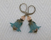 Peach and Teal Frosted Lilly Lucite Earrings