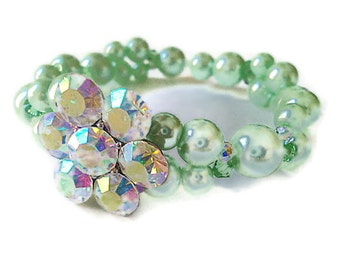 Austrian crystal pearl swarovski elements stretch bracelet bangle cuff sparkly mint green peridot