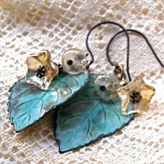 Verdigris leaves with golden flowers, glass bell flower earrings, detailed brass oxidized, Czech glass flowers