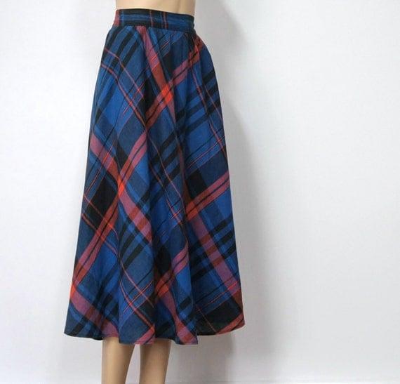 On reserve for Justine - Vintage Mad Plaid Skirt / Blue Plaid / Liz Claiborne / School Girl / Rocker / Boho / Size 12