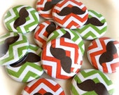 BUTTONS - Pin, Flat, Hollow, or Magnet Back Buttons - 1 inch Set of 12 - Chevron Mustache - Holiday Party Favor - Scrapbooking