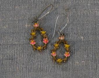 Vintage 1960's Enamel Flower Drop Earrings