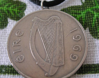 1969 IRISH Coin Birth Year Coin Necklace/1969 10  PENCE Ireland Necklace