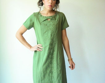 Vintage 50's Olive Green Embroidered Dress / Cut Out Bow Tie Neck