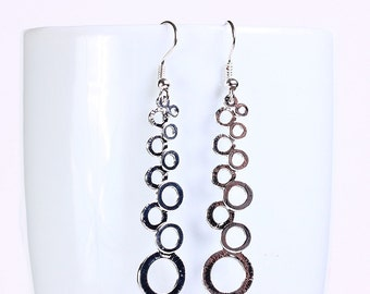 Silver plated grape drop dangle earrings (554) - Flat rate shipping