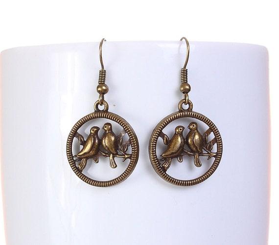 Sale Clearance 20% OFF - Antique brass bird drop dangle earrings (573)