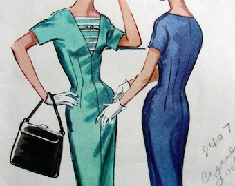 UNCUT Vintage 1957 McCall's  Sewing Pattern 4325 - Misses' Instant Sheath Wiggle Dress - Size 14; Bust 34