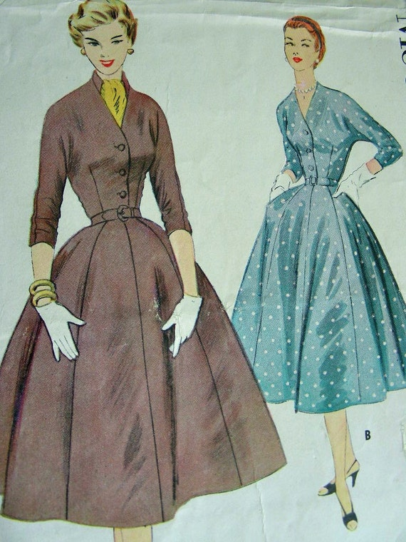 UNCUT * 1950's McCalls  Pattern 3002 - ELEGANT Ladies' Day or Evening  Dress with Scarf -  - Bust 32
