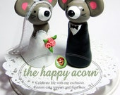 Mouse Wedding Cake Topper Mice READY TO SHIP Handmade by The Happy Acorn