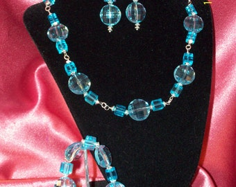 SALE-Cool Water-Sparkling Turquoise Beaded Grand Parure