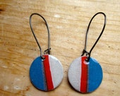 Blue, Red and Gray Stripe Paper Earrings