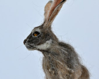 Needle felted  animal. Jackrabbit. Felted soft sculpture.Wool Felt Animals. Made to order