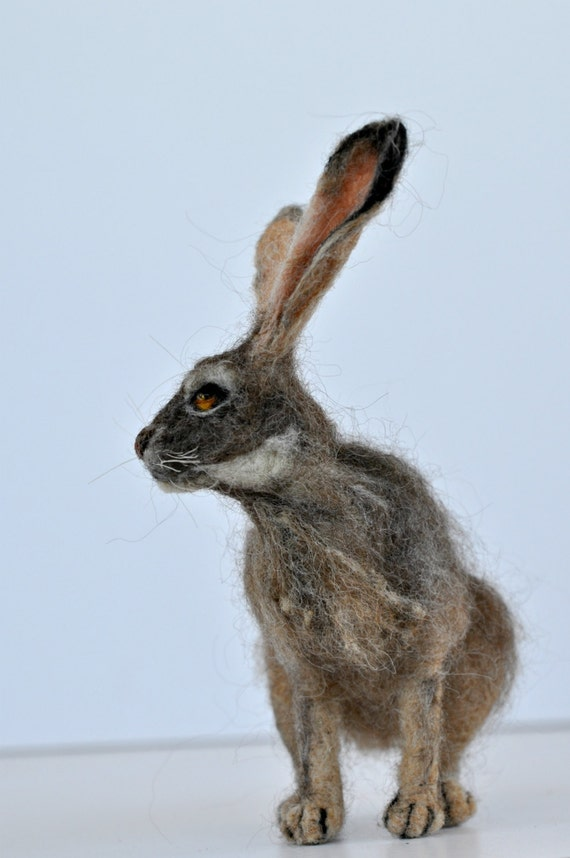Needle felted animal. Jackrabbit. Felted soft sculpture.Wool Felt ...