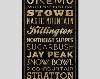 Ski Snowboard Text Sign FREE to CUSTOMIZE -- Stretched CANVAS Wall Art by Native Vermont