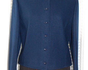 Vintage Pendleton - Buttoned in Blue - Wool Cropped Jacket - s/m