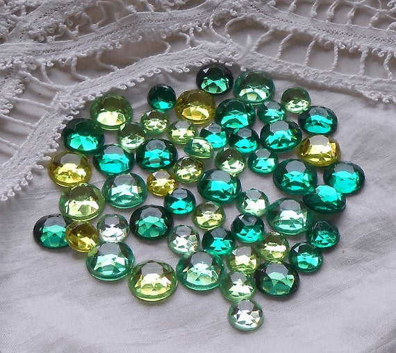 Green Acrylic Flatback Rhinestones 50 per pack assorted sizes - Embellishments for scrapbooking, cards, crafting