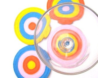 SALE . Bullseye Coaster Set . Retro Coaster Set . Gift for Him . Gift for Her . Housewarming