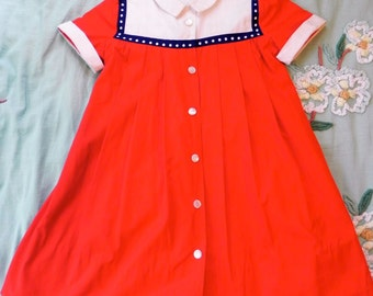Vintage 50s Girls Dress Red, White and Navy Blue - on sale